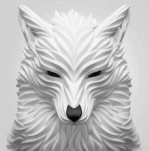3D sculptures - a white wolf.