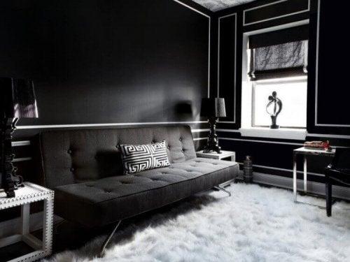 A black living room.