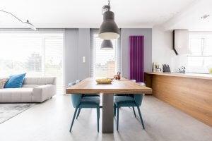 A minimalistic dining room.