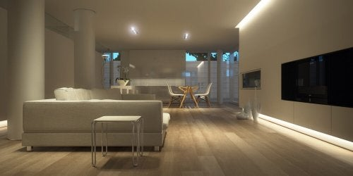 A modern, open room.