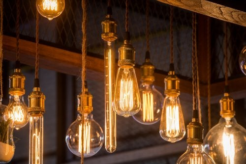 A series of vintage light bulbs.