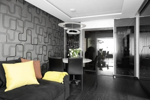 A small black room.