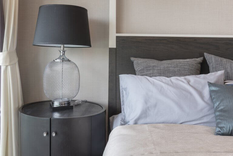 A bedside table lamp
