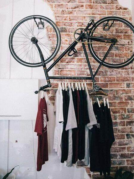A unique clothes rack using an old bike