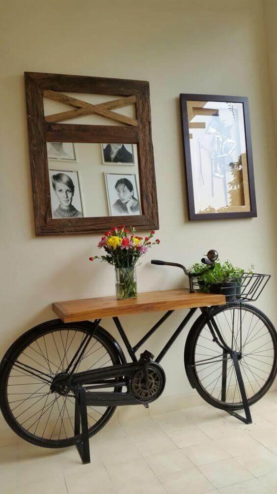 Bike table in the hallway