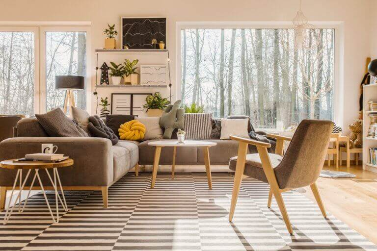 Living room decor featuring warm brown and yellow