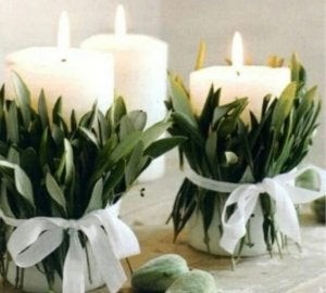 Original centerpieces - candles and leaves.