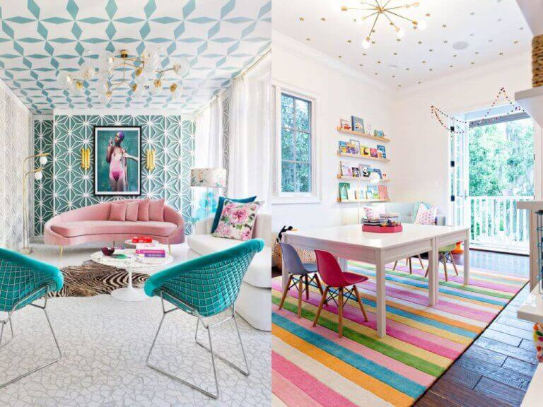 Gorgeous colorful patterned ceilings add real personality