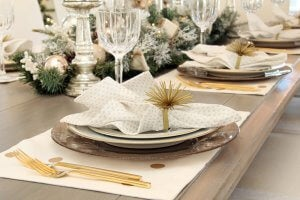 Setting the table: plates.