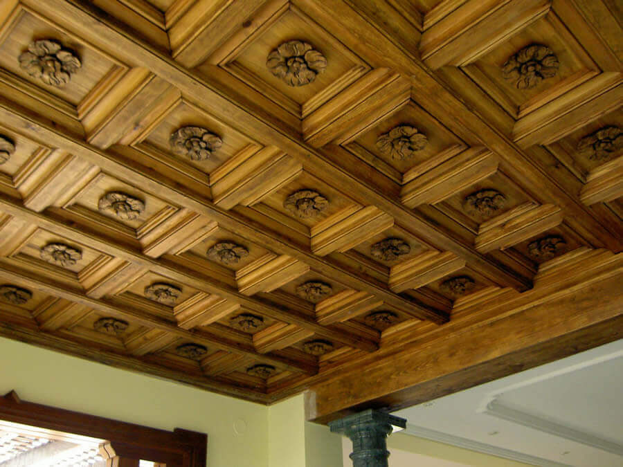 A timber coffered ceiling created by Martos