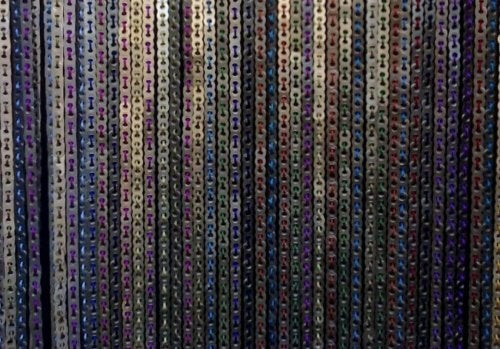 Colorful curtains made out of can tabs.