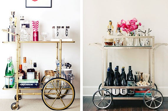 Some colorful decorated vintage drinks trolleys
