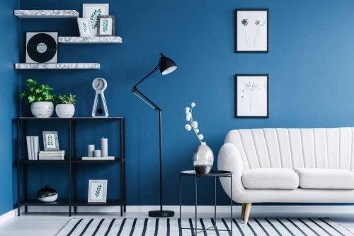 A dark blue wall.