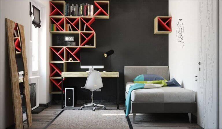 A bedroom with dark walls needs good lighting