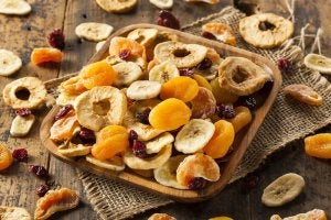 A tray of dried fruit.