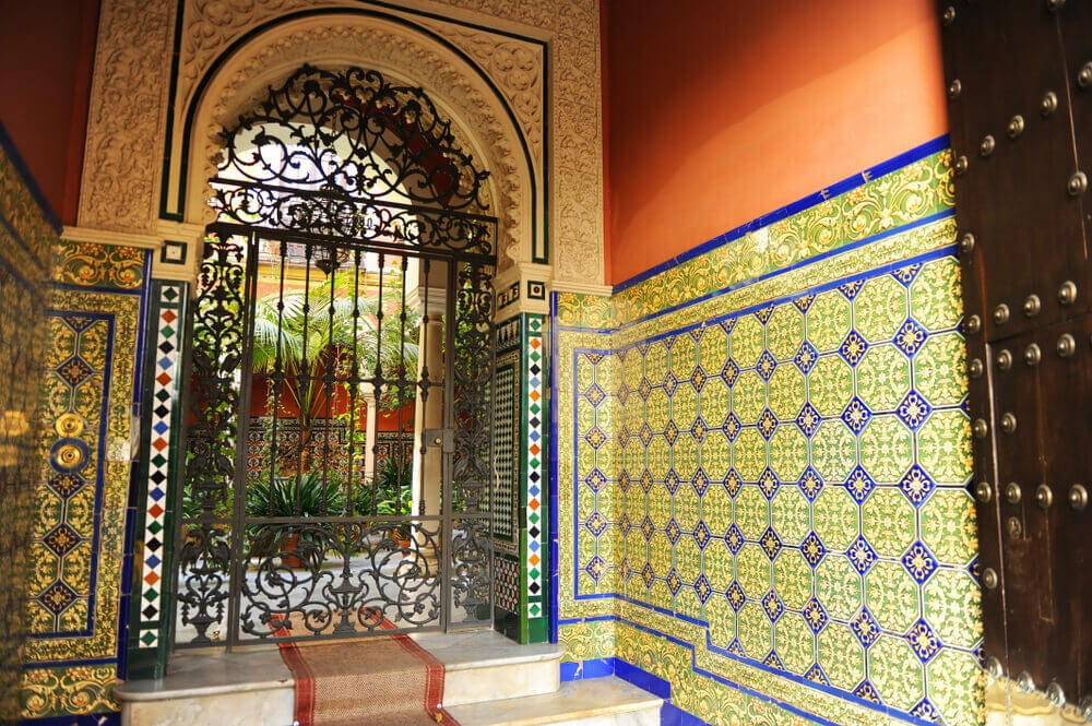Decorate outside areas with colorful tiles on the floor and walls