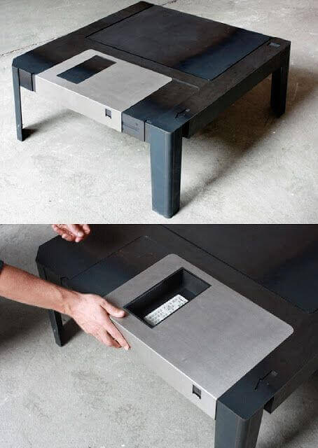 A floppy disk coffee table adds a retro flavor