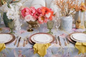 Floral table cloth.