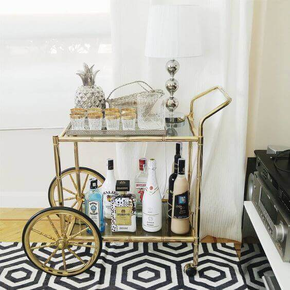 Vintage drinks trolleys such as this with a gold theme are classic