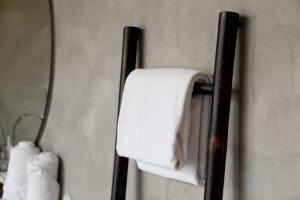 A metal towel rack.