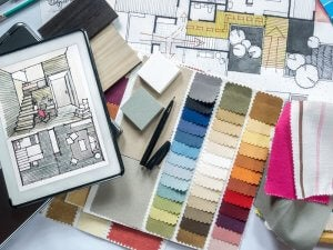 Different color fabrics.
