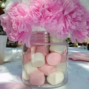 Marshmallows and paper flowers.