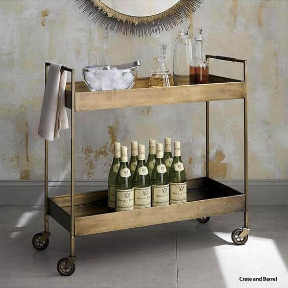 A serving cart ready for a party