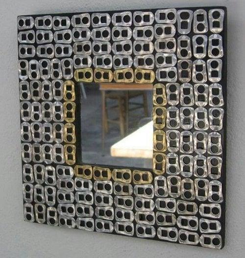 A metallic mirror frame.