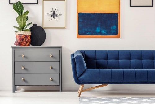 A navy blue sofa.