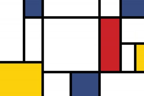 A painting with red, yellow, and blue colors.