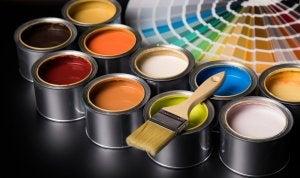 Pots of paint.