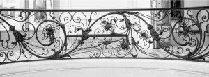 Art nouveau wrought iron railings.
