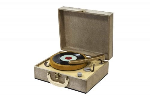 A suitcase record player.