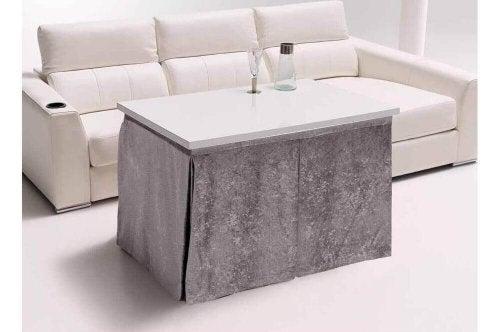A rectangular round table.