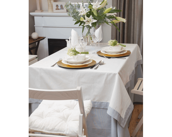 A table covered with tablecloths.