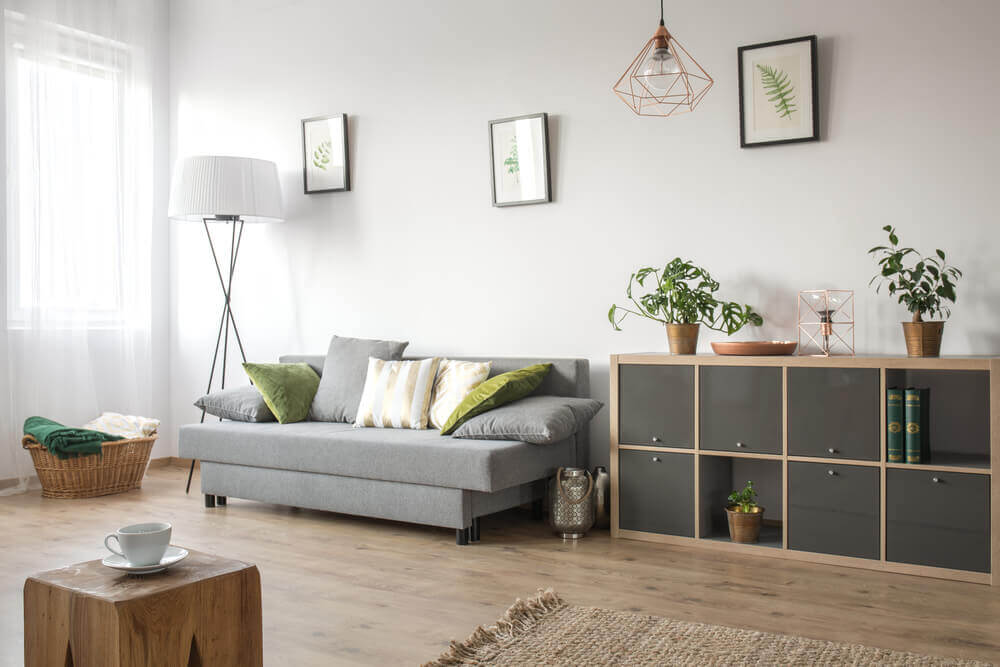 A simply furnished living room