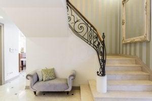 Ornate wrought iron railings.