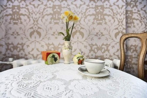 A table with a tablecloth.