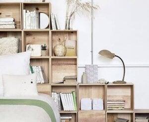 Headboard ideas - wooden shelving unit.