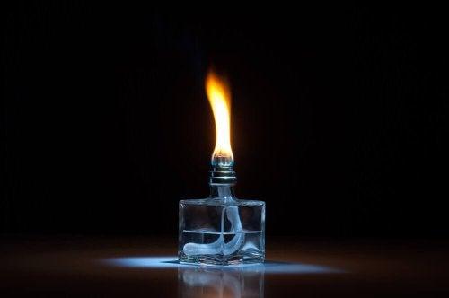 A lit fragrance lamp.