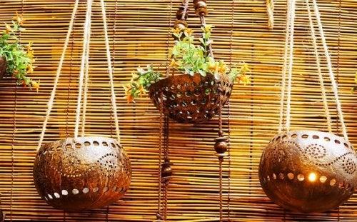 Hanging flowerpots.