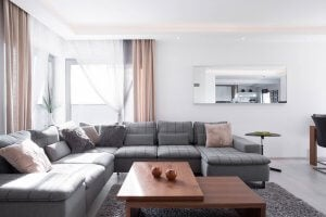 A living room with a large sofa