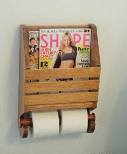 Magazine rack and toilet paper holder.