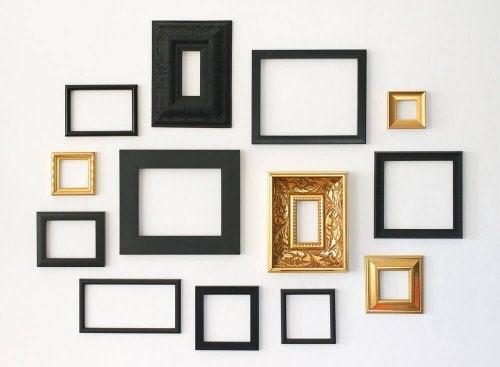 A few minimalist frames on a wall.