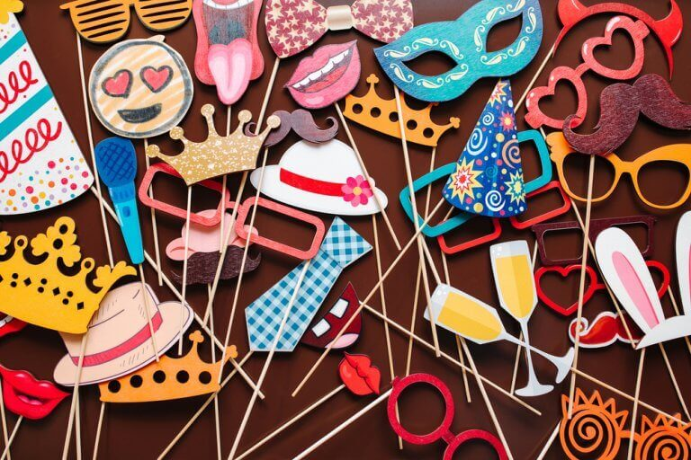 Colorful party decorations on sticks