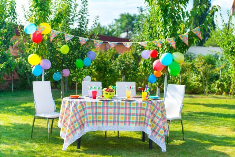 A garden party with a table ready