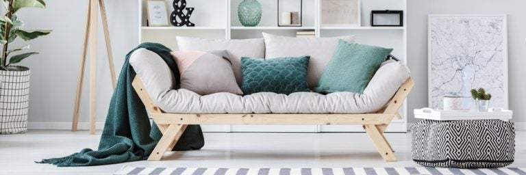 Different cushions decorating a sofa