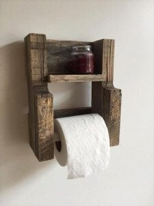 Wooden toilet roll holder.