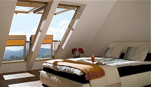 A house with windows on its roof which is one of our functional window styles.