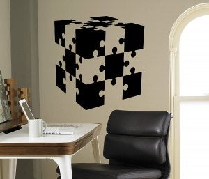 Vinyl puzzle piece on wall.